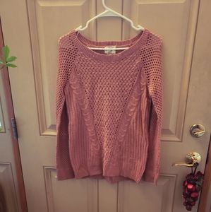 Hippie Rose Blush Cable Knit Sweater